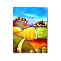 Tictac Renkli Tarlalar Kanvas Tablo - 60X90 Cm