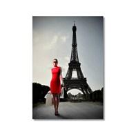 Tictac Eyfel Ve Kırmızılı Kadın Kanvas Tablo - 50X75 Cm