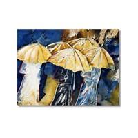 Tictac Şemsiyeli İnsanlar Kanvas Tablo - 60X90 Cm
