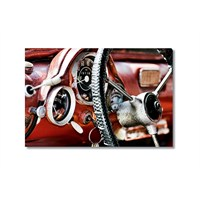 Tictac Kırmızı Eski Araba Kanvas Tablo - 50X75 Cm