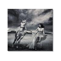 Tictac Beyaz At Kanvas Tablo - 50X75 Cm