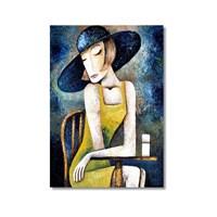 Tictac Cafedeki Kadın Kanvas Tablo - 60X90 Cm