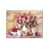Tictac Vazoda Çiçekler Kanvas Tablo - 50X75 Cm