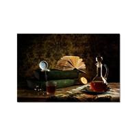 Tictac Masadaki Kitaplar Kanvas Tablo - 60X90 Cm