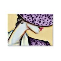 Tictac Mor Şapkalı Kadın Kanvas Tablo - 50X75 Cm