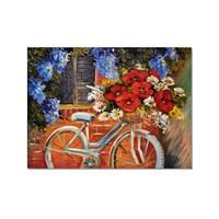 Tictac Çiçekli Bisiklet 2 Kanvas Tablo - 50X75 Cm