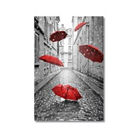 Tictac Kırmızı Şemsiyeler Kanvas Tablo - 40X60 Cm