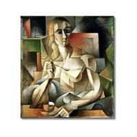 Tictac Picasso Kahve İçen Kadın Kanvas Tablo - 60X60 Cm