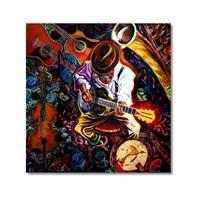 Tictac Gitarist Ve Enstrümanlar Kanvas Tablo - 60X60 Cm