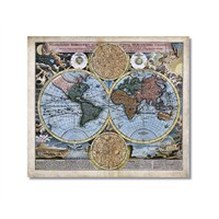 Tictac Antik Harita 2 Kanvas Tablo - 70X70 Cm