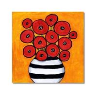Tictac Kırmızı Çiçekler Kanvas Tablo - 70X70 Cm