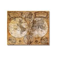 Tictac Antik Harita 3 Kanvas Tablo - 50X50 Cm