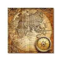Tictac Antik Harita 4 Kanvas Tablo - 70X70 Cm