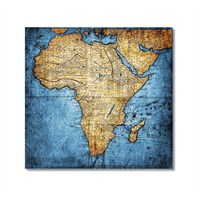 Tictac Afrika Haritası Kanvas Tablo - 50X50 Cm
