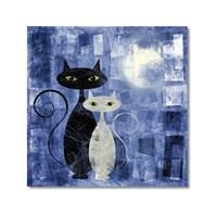 Tictac Siyah Ve Beyaz Kediler 1 Kanvas Tablo - 60X60 Cm