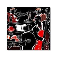 Tictac Kırmızı Siyah Jazz Kanvas Tablo - 60X60 Cm