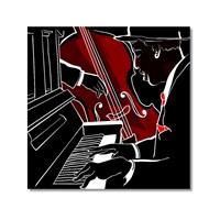 Tictac Piano Ve Kontrbas Kanvas Tablo - 60X60 Cm