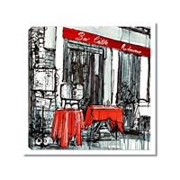 Tictac Kırmızı Masalı Cafe Kanvas Tablo - 50X50 Cm