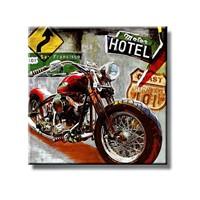 Tictac Kırmızı Motorsiklet Kanvas Tablo - 60X60 Cm