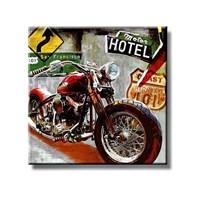 Tictac Kırmızı Motorsiklet Kanvas Tablo - 70X70 Cm