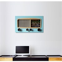 Tictac Mavi Radyo Kanvas Tablo - 60X120 Cm