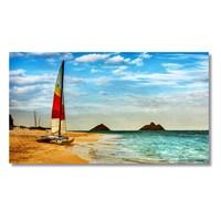 Tictac Kumsaldaki Yelkenli Kanvas Tablo - 50X100 Cm