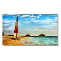 Tictac Kumsaldaki Yelkenli Kanvas Tablo - 40X80 Cm
