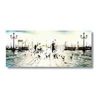 Tictac Venedik'te Aşk Kanvas Tablo - 40X120 Cm
