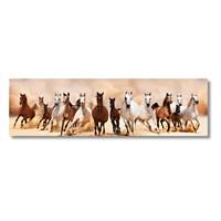 Tictac Koşan Atlar Kanvas Tablo - 25X100 Cm