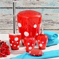 Hiper Puantiyeli 5 Parça Banyo Seti - Kırmızı
