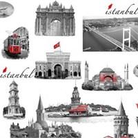 Bien Forever 15201 İstanbul Desenli Pop Art Duvar Kağıdı