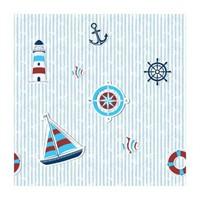 Bien Kids 1915 Bordo Mavi Deniz Feneri Desenli Çocuk Duvar Kağıdı