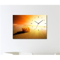 Tabloshop - Deniz Kabuğu Canvas Tablo Saat - 45X30cm