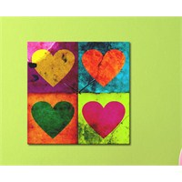 Tabloshop - Kalpler Canvas Tablo Saat - 40X40cm