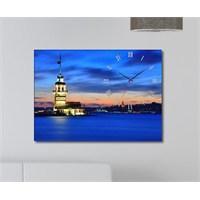 Tabloshop - Kız Kulesi Canvas Tablo Saat - 45X30cm