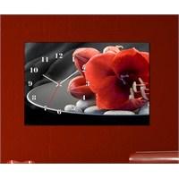 Tabloshop - Floral Iv Canvas Tablo Saat - 45X30cm