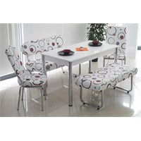 Teknoset Banklı Mutfak Masa Takımı Yemek Masası Kırmızı Halka Desenli