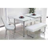 Teknoset Banklı Masa Takımı Mutfak Bank Takımı Açılır Yemek Masası - Beyaz
