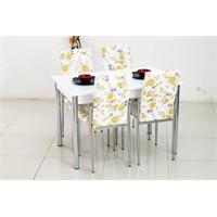 İndirimzade Mutfak Masa Takımı Yemek Masası Masa Sandalye - Sarı Çiçek