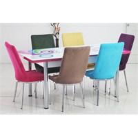 Teknoset Mutfak Masa Takımı Renkli Kumaş Açılır Masa Sandalye ( 6 Sandalye )
