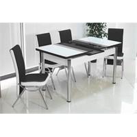 İndirimzade Mutfak Masa Takımı Yemek Masası Açılır Masa -Siyah