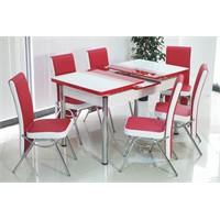 İndirimzade Mutfak Masa Takımı Yemek Masası Açılır Masa 6 Sandalye -Kırmızı