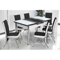 İndirimzade Mutfak Masa Takımı Yemek Masası Açılır Masa 6 Sandalye -Siyah