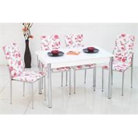 İndirimzade Mutfak Masa Takımı Yemek Masası Masa Sandalye - Kırmızı Çiçek