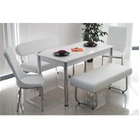Teknoset Bank Takımı Banklı Mutfak Masa Takımı Yemek Masası - Beyaz