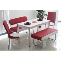 Teknoset Bank Takımı Banklı Mutfak Masa Takımı Yemek Masası - Kırmızı
