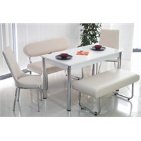 Teknoset Bank Takımı Banklı Mutfak Masa Takımı Yemek Masası - Krem
