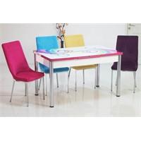 Teknoset Mutfak Masa Takımı Renkli Kumaş Açılır Masa Sandalye