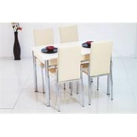 İndirimzade Mutfak Masa Takımı Yemek Masası Masa Sandalye - Krem