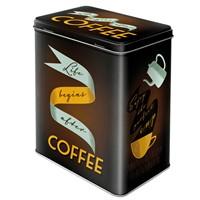 Nostalgic Art Life Begins After Coffee Teneke Saklama Kutusu (Large)